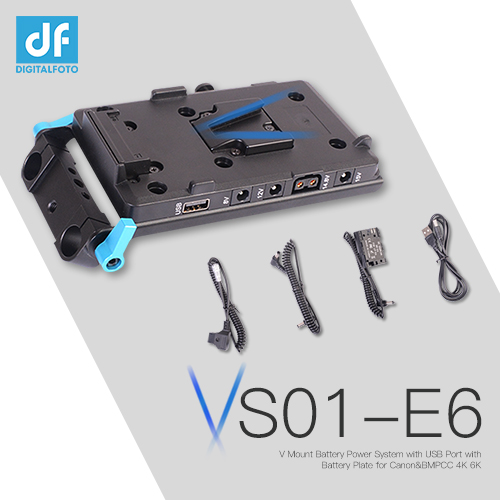 V Mount Battery Power System with USB Port with Battery Plate Rod Clamp for Canon BMPCC 4K 6K